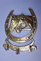 """Ключница на стену """"Подкова с Лошадьми"""" из бронзы"""