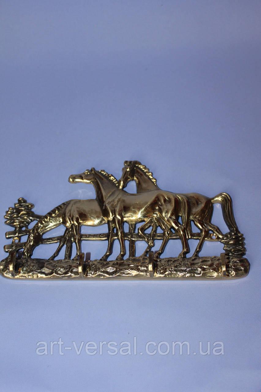"""Ключница большая """"Лошади"""" из бронзы"""