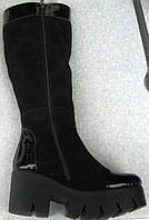 Молодежные женские сапоги осенние замшевые на толстой подошве, обувь для женщин молодежная от производителя