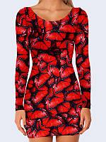 Оригинальное женское платье в обтяжку Red butterflies с потрясающим 3D-рисунком