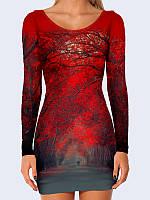 Потрясающее 3D-платье Красные деревья с ярким рисунком