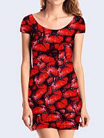 Классное обтягивающее 3D-платье Ярко-красные бабочки с модным рисунком