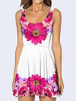 Стильное короткое женское 3D-платье Gerbera с очаровательным цветочным рисунком