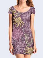 Очаровательное короткое платье в обтяжку Цветочный рисунок с оригинальным принтом