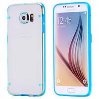 Чехол TPU+PC прозрачный светящийся в темноте для Samsung Galaxy S7 Edge голубой, фото 1