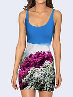 Замечательное женское платье в обтяжку Цветущая равнина с ярким принтом