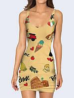 Милое женское платье Прекрасный Рим с классным рисунком
