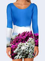 Замечательное женское платье с длинным рукавом и популярным принтом Цветочная равнина