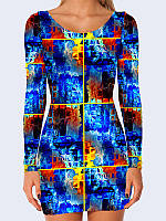 Модное платье Ярко-синие квадраты с креативным рисунком