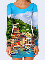 Прекрасное платье с длинным рукавом Portofino Italy с модным 3D-рисунком