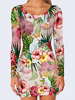 Превосходное женское платье с длинным рукавом Jungle с ярким летним рисунком