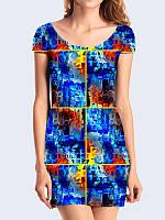 Яркое 3D-платье Blue squares с впечатляющим рисунком