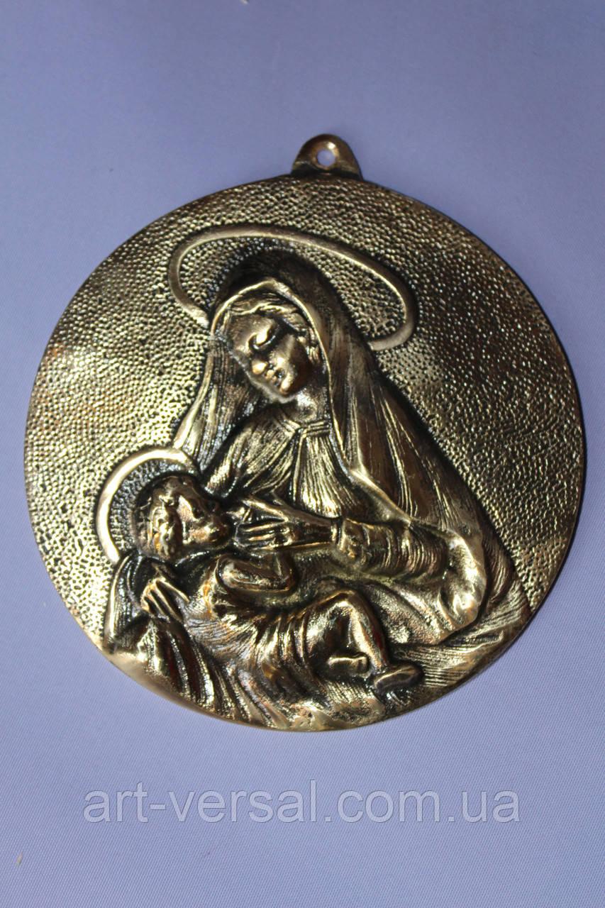 """Настенная икона """"Богородица"""" из бронзы"""