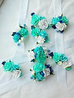 Цветочные свадебные бутоньерки и браслеты для свидетелей