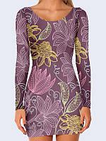 Потрясающее 3D-платье с длинным рукавом Необыкновенные цветы с модным принтом