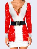 Прекрасное новогоднее женское платье Костюм Санты с ярким 3D-рисунком