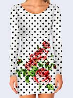Прелестное женское 3D-платье с длинным рукавом Розы в горох с оригинальным цветочным рисунком
