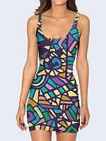 Милое 3D-платье-майка Colored mosaic с классным рисунком