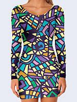 Замечательное жеское обтягивающее платье Цветная мозаика с оригинальным 3D-рисунком