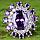 Кольцо серебряное с аметистом и белым сапфиром 925 пр 18р, фото 2
