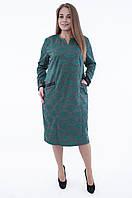 Платье серое с зеленым узором 562 больших размеров 56 58 60, фото 1