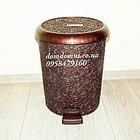 """Ведро с педалью """"Ажур""""  3 в 1 Elif Plastik, Турция,  коричневое"""