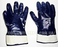 Перчатки нитрильные с твердой манжетой (крагой) полное покрытие