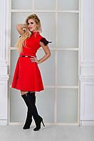 Модное красное платье с натуральными перьями на рукавах. Арт-8997/72