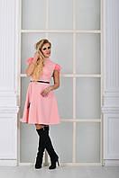 Модное персиковое  платье с натуральными перьями на рукавах. Арт-8997/72