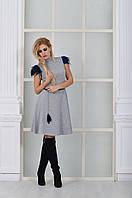 Модное серое  платье с натуральными перьями на рукавах. Арт-8997/72