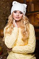 Женская шапка с ушками в 7ми цветах 16-76-82