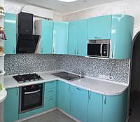Кухня угловая голубая