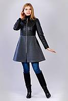 Стильное молодёжное комбинированное пальто