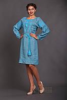 Женское платье с вышивкой Окошко, длинный рукав, цвет аква