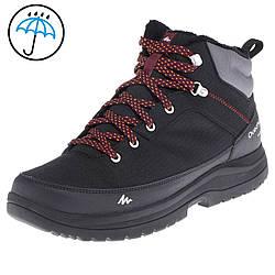 Ботинки  на меху водонепроницаемые черные на шнуровке для туризма и города