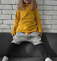 Теплые штанишки с начесом, заниженной матней и высоким манжетом. Серые с черным. Размеры: 86, 92 см