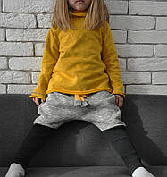 Теплые штанишки с начесом, заниженной матней и высоким манжетом. Серые с черным. Размеры: 104 см , фото 1