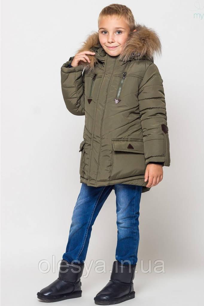 Зимняя куртка парка на мальчика размеры 38 рост 146 Цвет хаки
