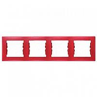 Рамка 4 поста горизонтальный монтаж красная Schneider Electric Sedna