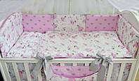 """Постель в детскую кроватку """"Маленькая балерина"""" серо-розового цвета"""