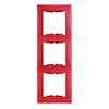 Рамка 3 поста вертикальный монтаж красная Schneider Electric Sedna