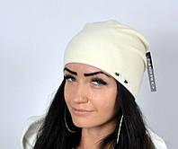 "Женская шапка ""Фрау"" белый. Молодежные женские шапки."