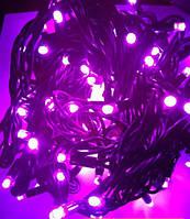 Гирлянда светодиодная уличная 10  метров розовая