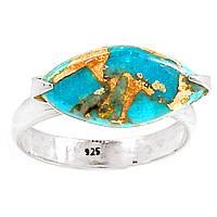 Бирюза голубая с медью, серебро 925, кольцо, 238КБ