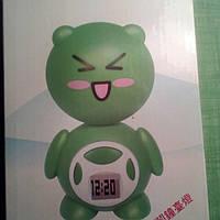 Ночник светодиодный и часы, заряжаются от розетки детский, зеленый