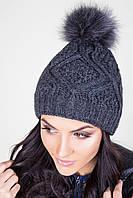Теплая женская вязаная шапка с помпоном
