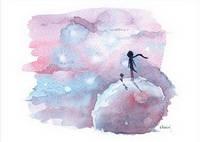 """Акварельная открытка """"Принц и Небо"""""""