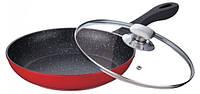 Сковорода литая мрамор 24х4,9см +крышка Peterhof PH15481-24