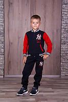 Тёплый спортивный костюм для мальчиков тёмно синий с красным рукавом