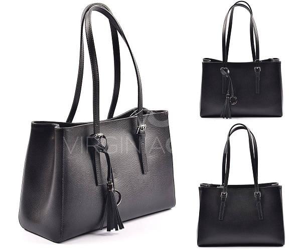 Черная кожаная сумка из Италии 8370